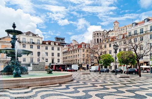 Fountain on Rossio Square in Lisbon, Portugal