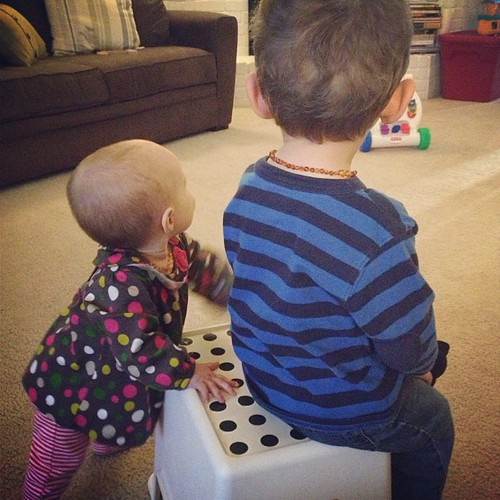 Sharing the beloved stool. He sits, she taps. #siblinglove