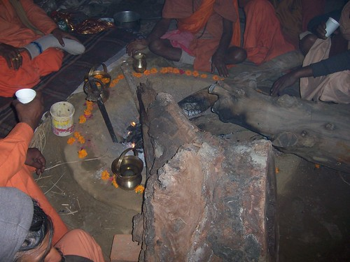 A pit where the holy fire burns at the Kumbh Mela