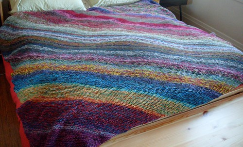 never ending blanket...ends. by gradschoolknitter