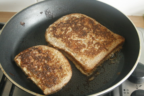 Either Spray With Fry Light Or Melt A Big K Of Butter In The Pan Then Fry Your Bread Flipping It Over So That Both Sides Get Nice And Golden