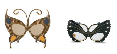 Cellulose-acetate butterfly-shaped sunglasses, france, c. 1950 and black acetate butterfly-shaped frames, France, c. 1950s