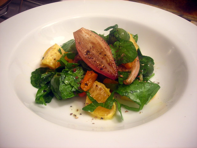 Olive, tangerine and cherry pepper salad, with watercress and honey-roasted shallots