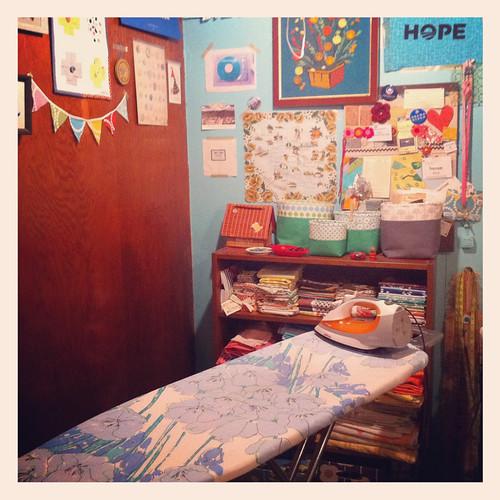 my new Vera ironing board in my craft room