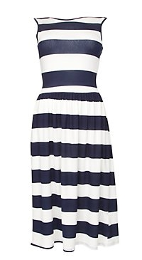 Te Amo Black and White Stripe Midi Dress