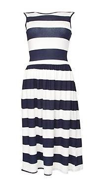 Te Amo Black and White Stripe Midi Dress