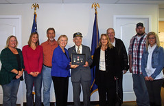 Rep. Miller with William Pollauf and family. Left to Right: Wendy and Jodi (granddaughters), Don (son), Rep. Miller, William Pollauf, Kathy (daughter), Ron (son in law), Don Jr. (grandson) , and Brittaney (great-grand daughter)
