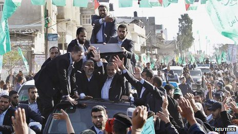 Hamas leader Khaleed Meshaal being welcomed in Gaza. He was forced out during the 1967 war by Israel against the Arab states and Palestine. by Pan-African News Wire File Photos