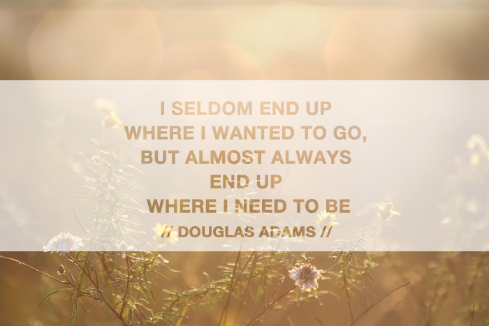 I seldom end up where I wanted to go, but almost always end up where I need to be. – Douglas Adams