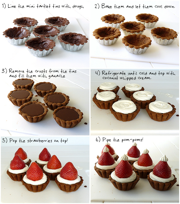 Step by Step Strawberry Santa Hats on Chocolate Tarts