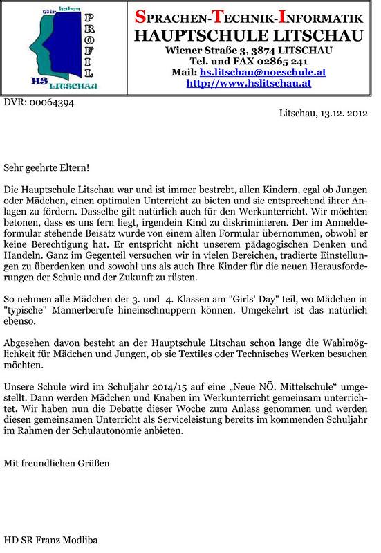Entschuldigungsschreiben Hauptschule Litschau