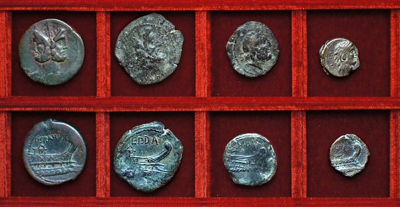 RRC 338 LPDAP Lex Papiria de Assis Pondere bronzes, RRC 337 D.SILANVS Junia As, Ahala collection, coins of the Roman Republic