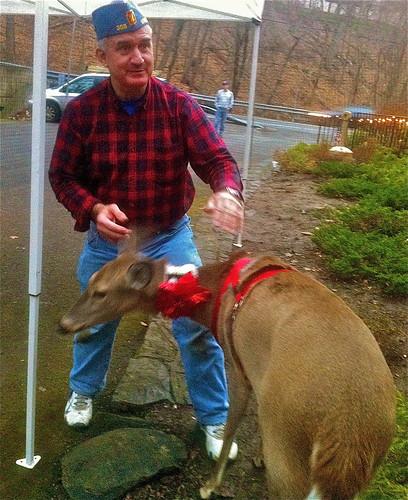 His pet reindeer