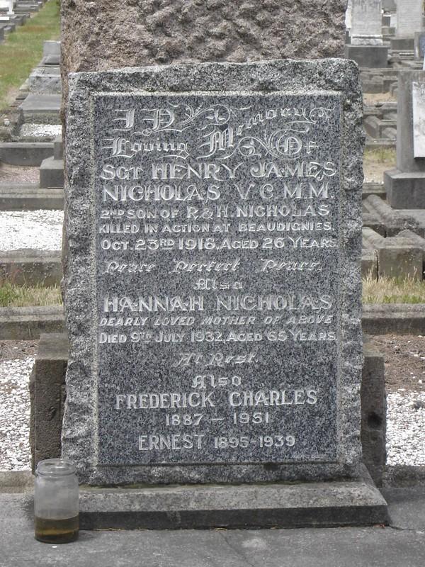 Plot of NICHOLAS family including memorial to Sgt Henry James NICHOLAS V.C., M.M.
