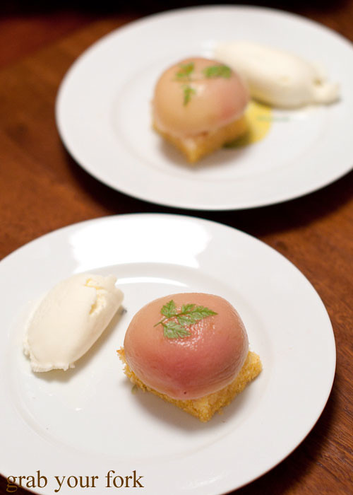 poached white peaches with polenta olive oil cake and fig leaf ice cream at stomachs eleven dinner party christmas 2012