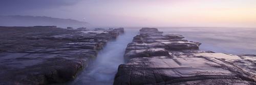 ocean morning lighthouse beach sunrise australia wideangle panoramic nsw centralcoast sidelight norahhead soldiersbeach rockshelf canon5dmarkii