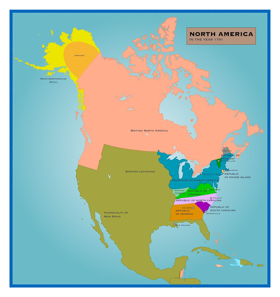 Making Alternate History AFE Map of North America 1791