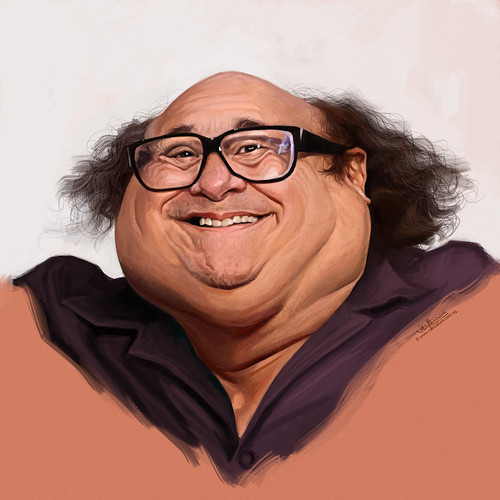 digital caricature painting of Danny DeVito
