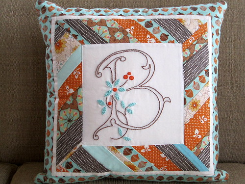 Embroidered B Pillow
