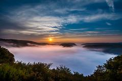 Sunrise at the misty Saarschleife