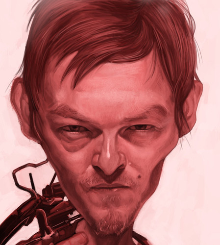 digital caricature of Norman Reedus as Daryl Dixon - 2