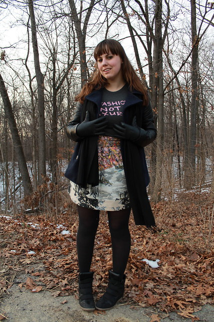 Fashion is Not a Luxury Outfit: Bitten t-shirt, Anthropologie mixed-print skirt, black tights, black sneaker wedges, Urban Outfitters navy peacoat with black leather sleeves, Anthropologie pavé ball and pyramid earrings