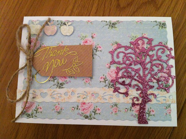 Pink glitter tree thank you card
