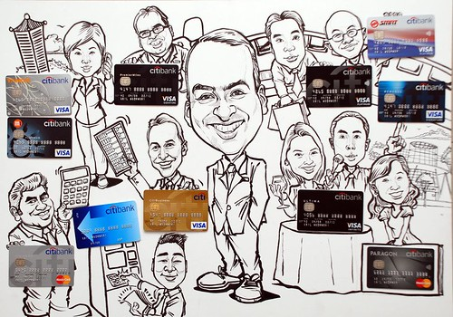 Group caricatures for Citibank - pen and brush