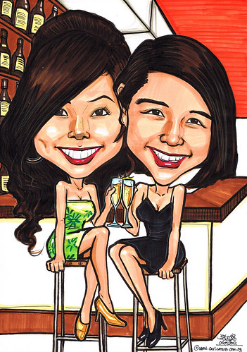 girls caricature at bar