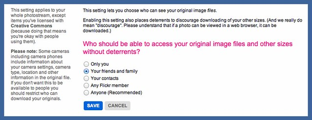 Flickr download permissions