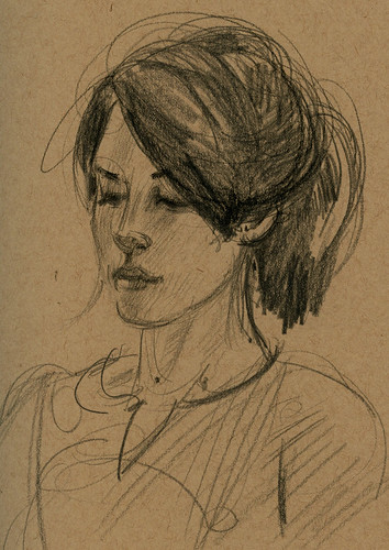 Meg on toned paper