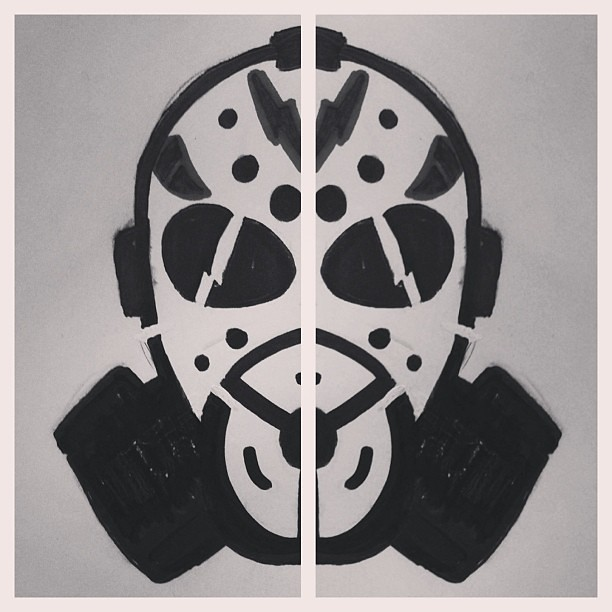 Quick stencil sketch. Mix of Jason with gas mask. #sharpie ...