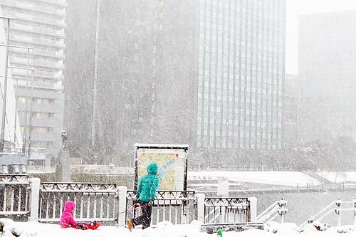 play sleghing in Tokyo snowy day