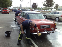GM Fire Service washing cars for charity