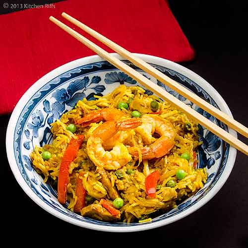 Singapore Noodles in Bowl with Chopsticks