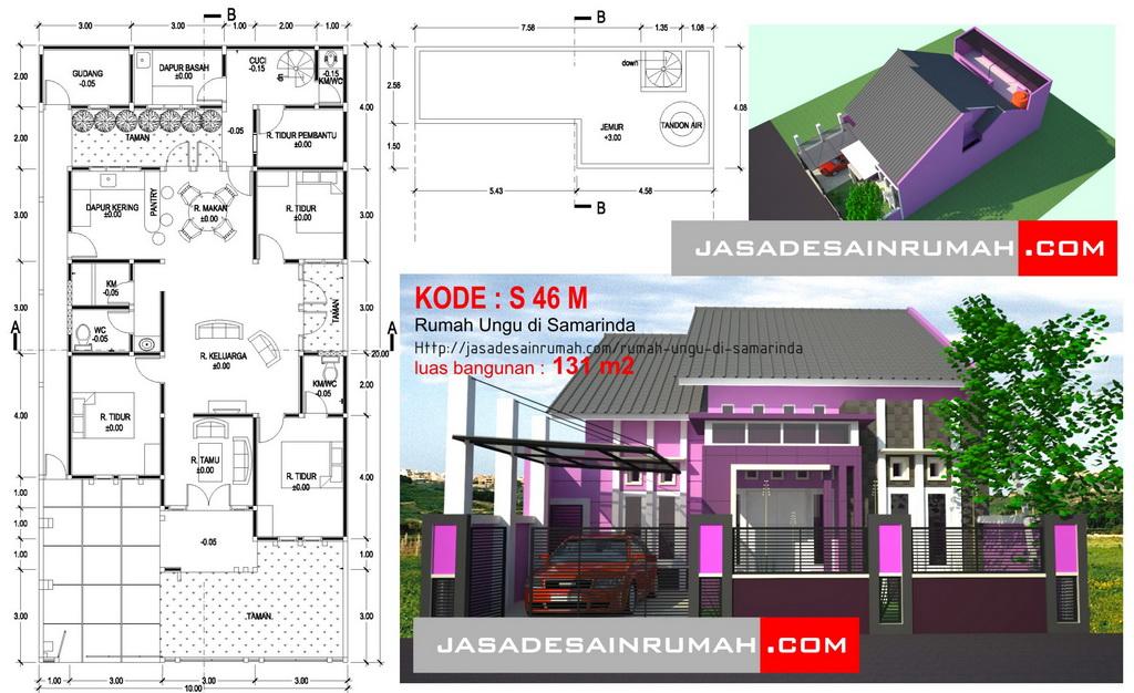 Rumah Minimalis Lantai 2 Nuansa Ungu  rumah ungu di samarinda jasa desain rumah