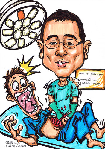caricature of a surgeon in action