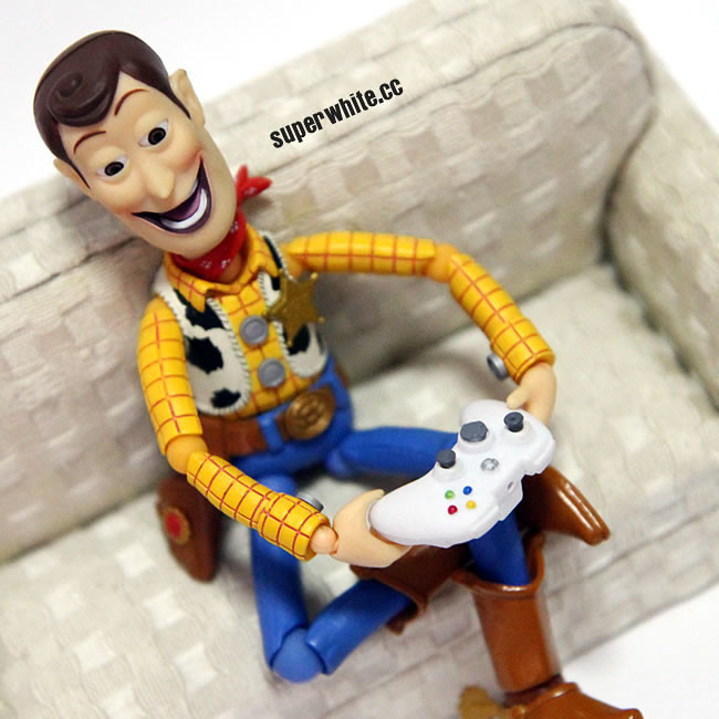 It's a lazy Sunday for Woody, playing games home alone.