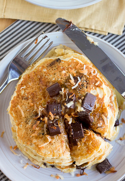Toasted Coconut Chocolate Chunk Pancakes