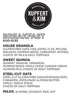 Kupfert & Kim - Breakfast menu