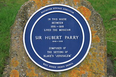Photo of Hubert Parry blue plaque