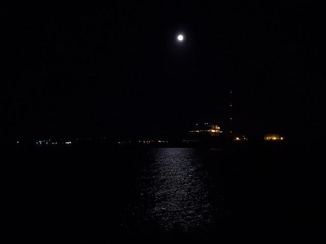 Peterhead Power Station full moon