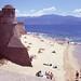 Sandy beach in Ajaccio, Corsica