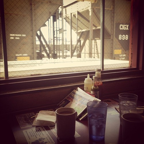 The best part of eating at Pufferbelly is when the train goes by...that and the bacon.