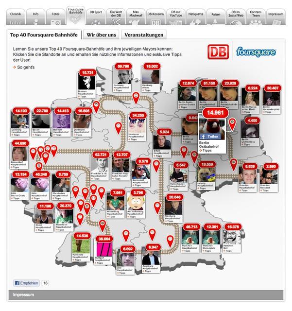 Die Deutsche Bahn mit Foursquare bei Facebook