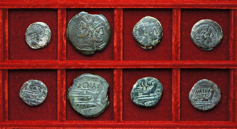 RRC 186 MVRENA Licinia bronzes, RRC 185 VARO Terentia sextans, Ahala collection, coins of the Roman Republic