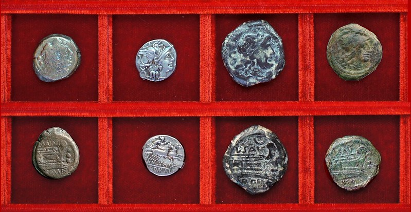 RRC 203 C.MAIANI Maiania quadrans, RRC 204 L.SAVF crescent Saufeia denarius and bronzes, Ahala collection, coins of the Roman Republic