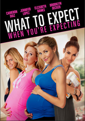 Movie poster featuring Elizabeth Banks, Brooklyn Decker, and Cameron Diaz clutching their pregnant bellies, while JLo hugs a copy of the book What To Expect... When You're Expecting.