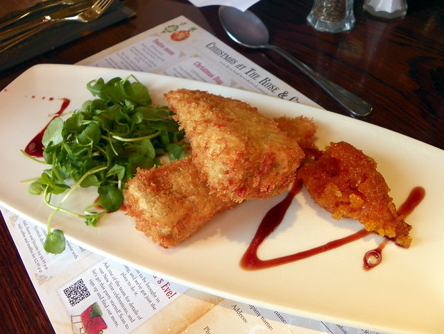 Somerset Brie, breaded & deep fried with apricot compote and watercress (GOC Kings Langley Xmas 2012 069)