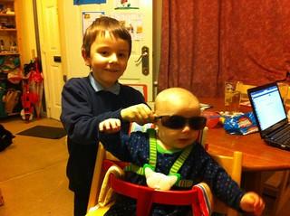Nico tries the sunglasses